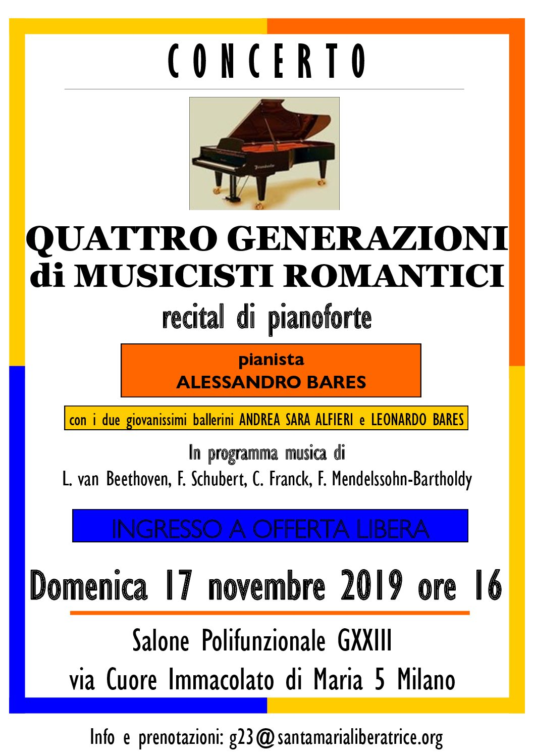 Quattro generazioni di musicisti romantici – recital di pianoforte
