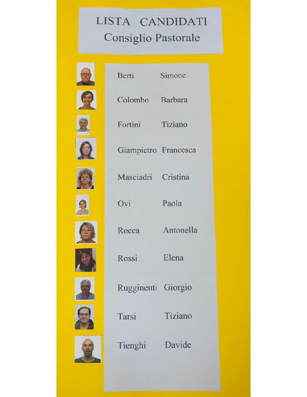 Lista candidati Consiglio Pastorale