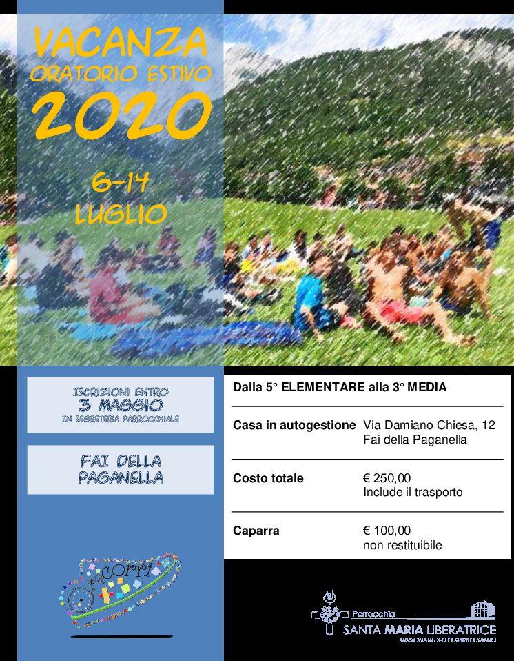 Vacanza oratorio estivo 2020