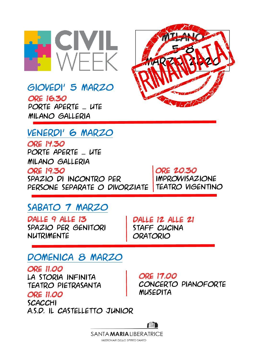 """#CivilWeek Milano """"La società in movimento"""": RINVIATA"""